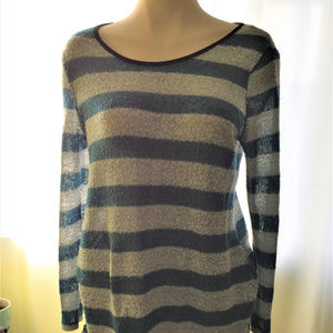 Blue and Gray Striped Sweater Scoop Neck L